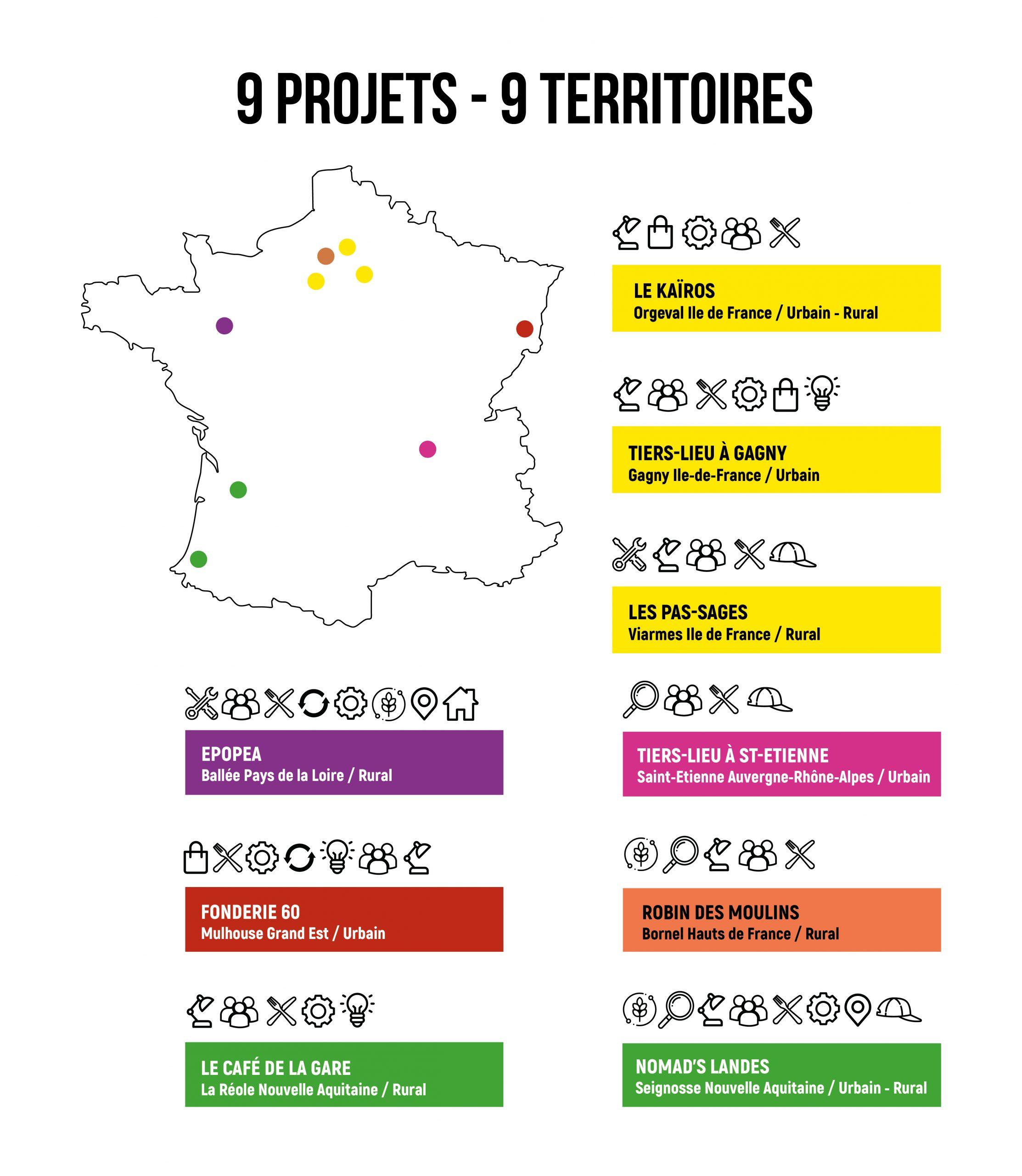 Carte de France avec les projets de tiers-lieux
